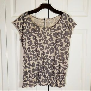 LOFT Leopard print top 100% Cotton